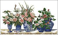 Набор для вышивки крестом Цветы в горшке. Размер: 55*6*33 см