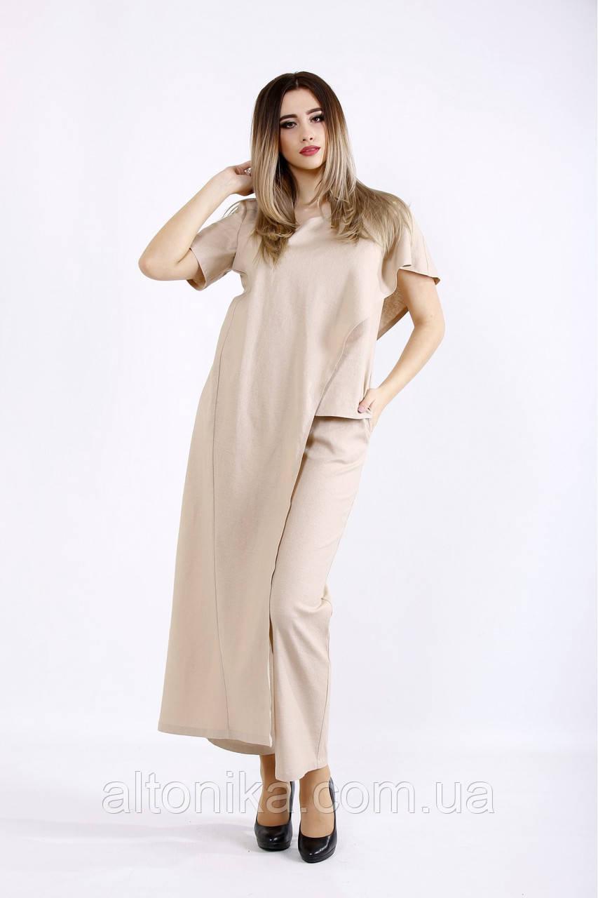 Стильный и оригинальный женский костюм из льна |  42-74