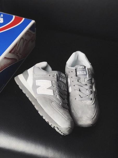 separation shoes b57f5 7464f Женские кроссовки NB 574 grey/white suede