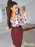 Женский костюм с юбкой-карандаш и блузой с цветочным принтом (в расцветках), фото 3