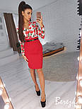 Женский костюм с юбкой-карандаш и блузой с цветочным принтом (в расцветках), фото 7