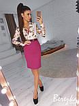 Женский костюм с юбкой-карандаш и блузой с цветочным принтом (в расцветках), фото 8