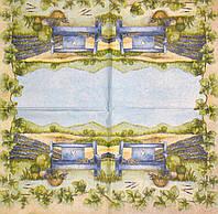 Салфетка декупажная Лавочка на фоне лавандового поля 791