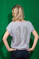 """Модная женская футболка со стразами  """"Ангел"""" 944, фото 1"""