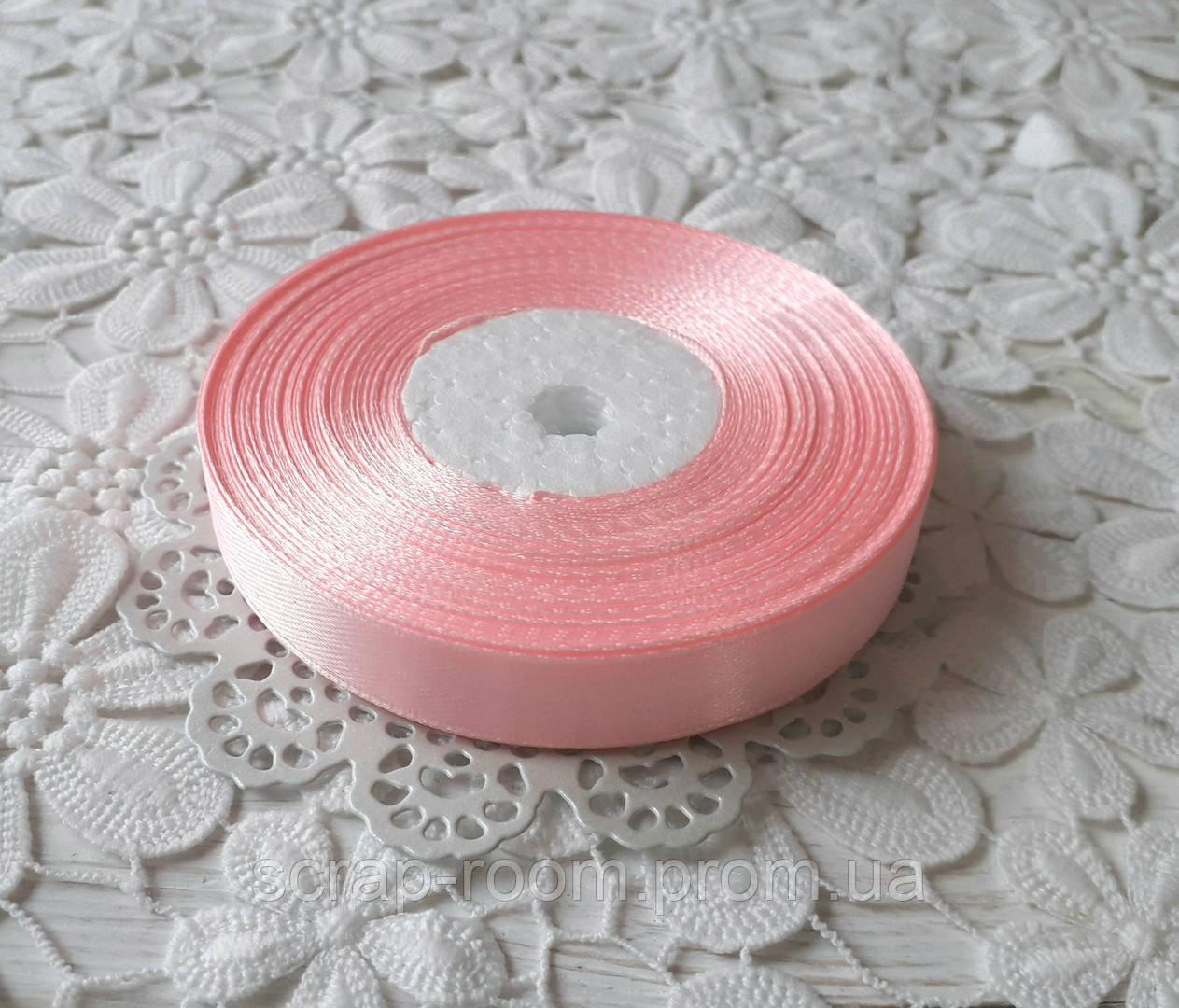 Лента атласная 1,2 см светло-розовая, лента розовая атлас, лента атласная нежно-розовая, цена за метр