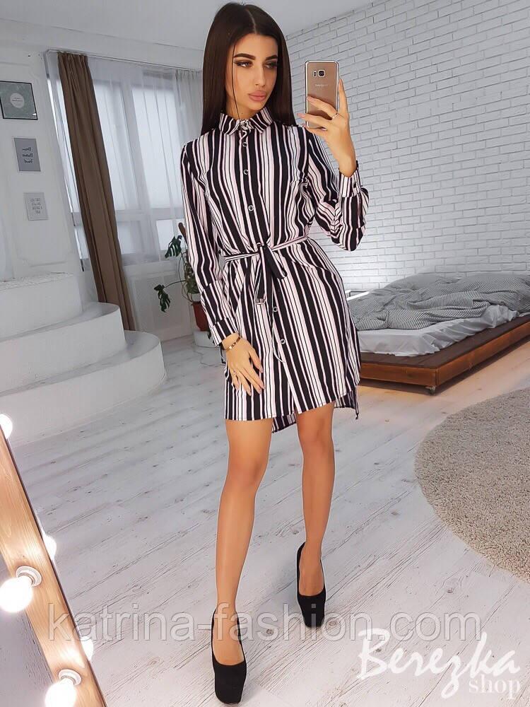 Женская туника-рубашка в полоску с поясом