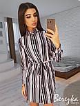 Женская туника-рубашка в полоску с поясом, фото 5