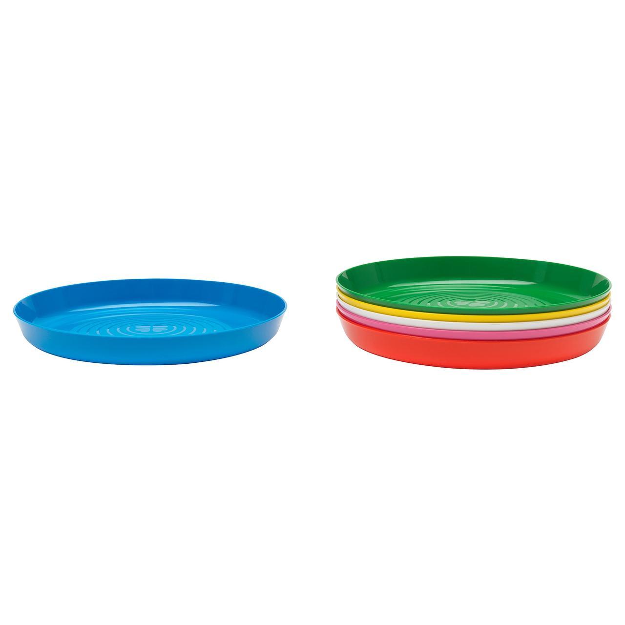КАЛАС Набор детских тарелок, 6 штук, разноцветный, 30421301, ИКЕА, IKEA, KALAS