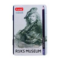 Набор графитных карандашей Bruynzeel DUTCH MASTERS Рембрандт (9B-2H) 12 шт. в металлической коробке 5702M12