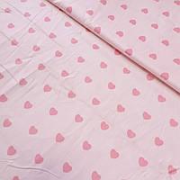 Сатин з сердечками на світло-рожевому тлі, ширина 160 см, фото 1