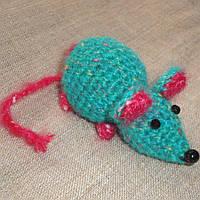 Вязаная мышка игрушка для кошек ручной работы 10-12см