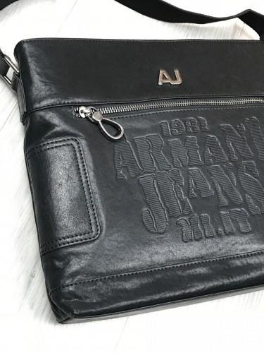 acc824689fb8 Брендовая кожаная женская сумка мессенджер Armani Jeans черная через плечо  унисекс Армани Джинс люкс реплика, ...