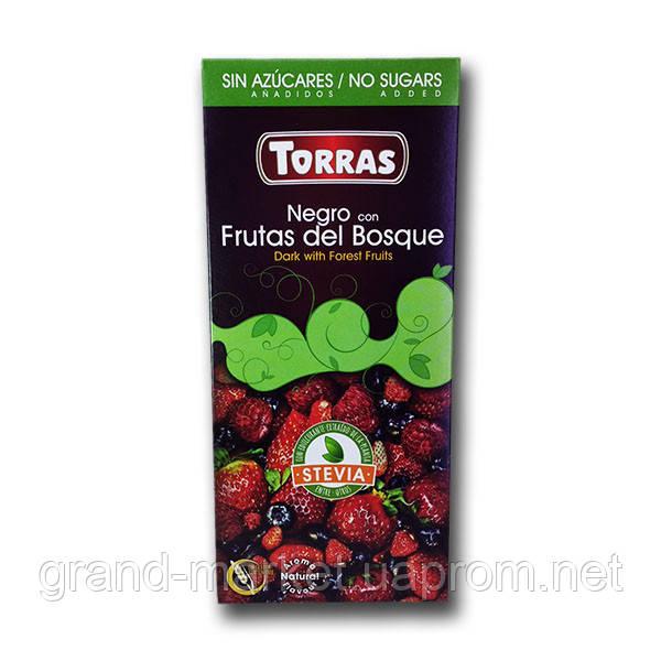 """Шоколад черный с лесными фруктами (без сахара и глютена) """" Torras Stevia """" 125 g"""