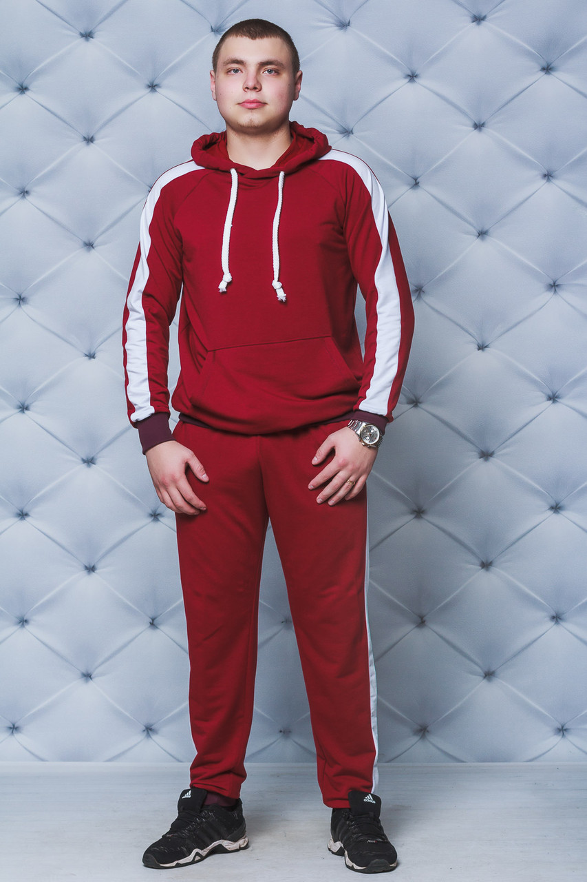 Спортивный костюм мужской с лампасами бордо
