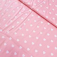 Сатин со светло-розовыми сердечками на розовом фоне, ширина 160 см, фото 1