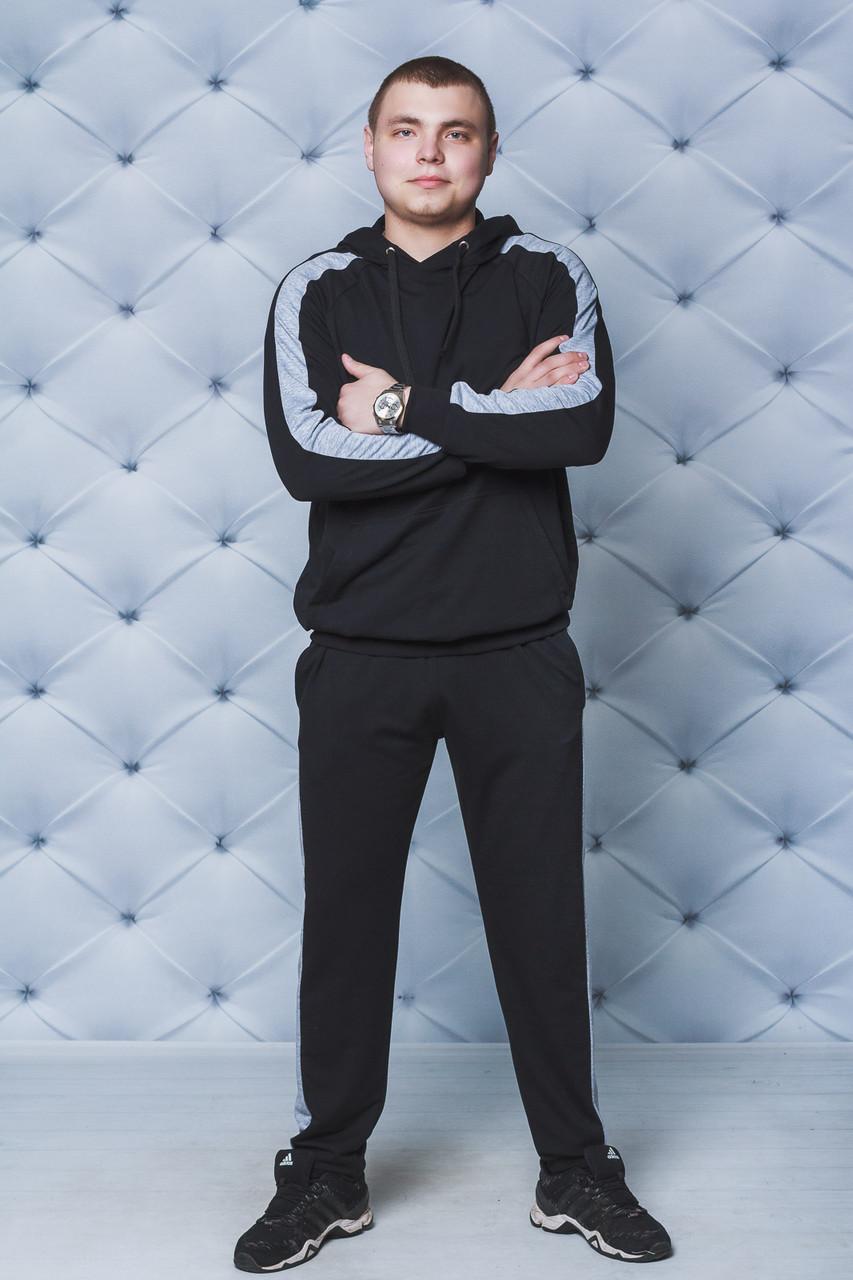 Спортивный костюм мужской с лампасами черный