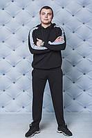 Спортивный костюм мужской с лампасами черный, фото 1