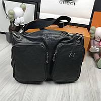 ebd7c8c09165 Стильная кожаная мужская сумка мессенджер Armani Jeans черная через плечо  унисекс Армани Джинс люкс реплика