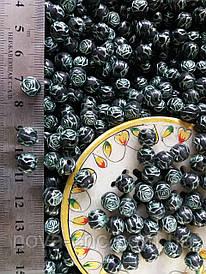"""Бусины пластик """"Роза"""" черный 6 мм 500 грамм"""