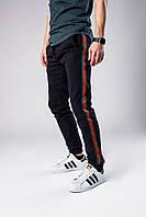 Спортивні штани чоловічі весняно/осінні з лампасами, колір чорний, фото 1