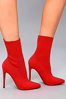Женские красные текстильные ботильоны чулки на каблуке Steve Madden, фото 1