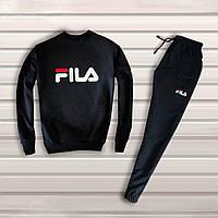 Мужской спортивный костюм, чоловічий костюм Fila Фила (черный), Реплика