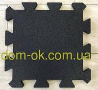 Резиновое спортивное (напольное) покрытие для детских площадок, спортзала 20мм ПАЗЛ черный