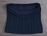 Шарф Хомут зиг-заг, цвет темно-синий (зимняя)