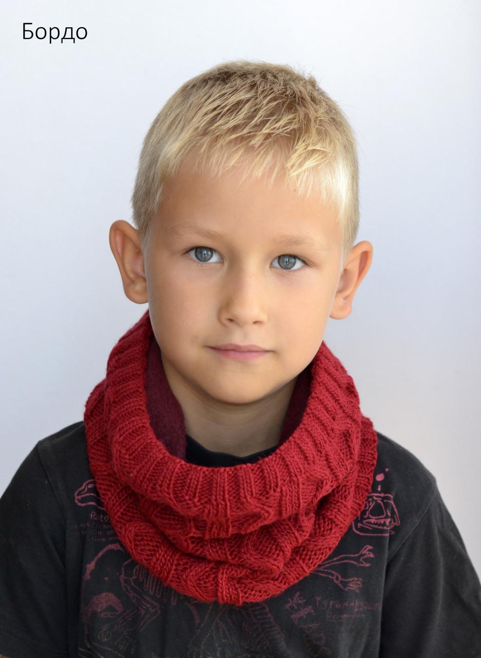 Шарф Хомут зиг-заг, цвет бордовый (зимняя)