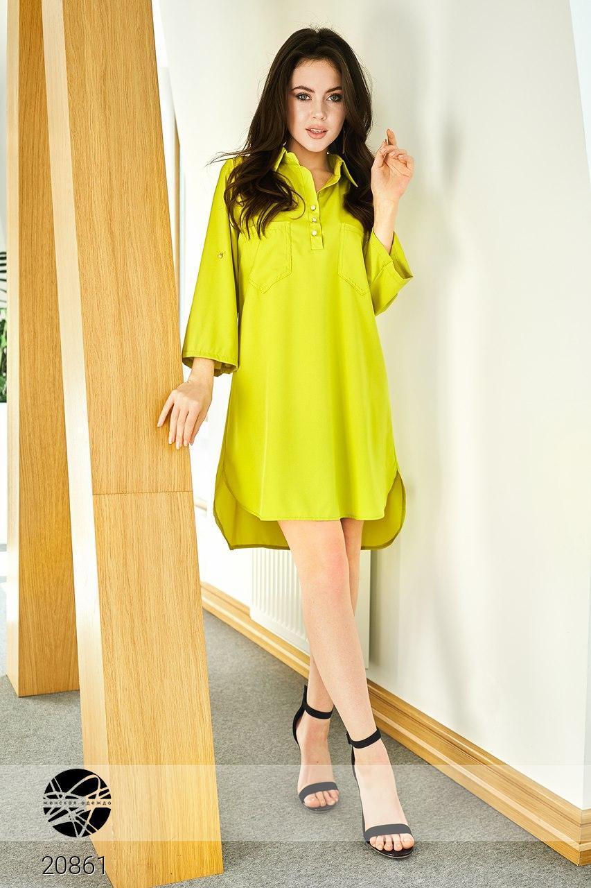 dc87a8c759b Купить Платье-рубашка желтого цвета. Модель 20861. Размеры 42-46 в ...