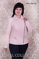 Куртка женская батальная из искусственной кожи ПУДРА весна\осень ЧЕРНАЯ 52,54,56,58р