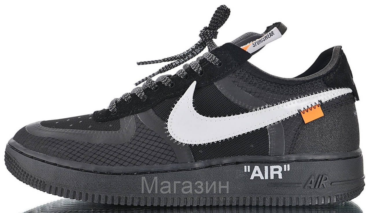 234d2a3f Мужские кроссовки OFF-WHITE x Nike Air Force 1 Low Black Найк Аир Форс ОФФ