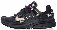 Мужские кроссовки Off White x Nike Air Presto Black в стиле Найк Аир Престо Офф Вайт черные