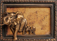 "Панно ""Пара слонов"", 37*26см"