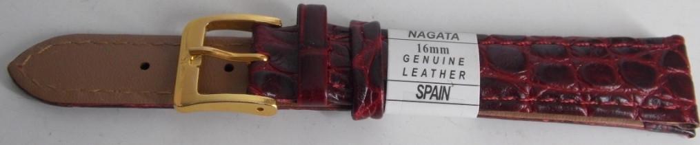 Ремешок кожаный NAGATA (ИСПАНИЯ) 16 мм, бордо