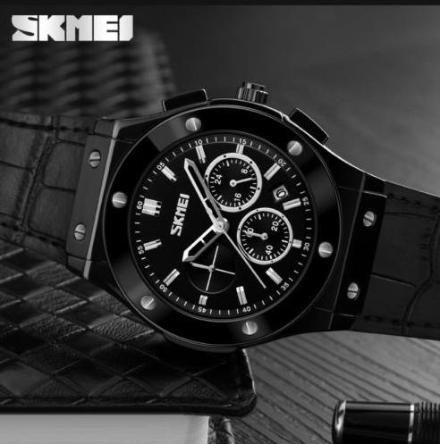 Skmei 9157 черные с черным ремешком мужские классические часы