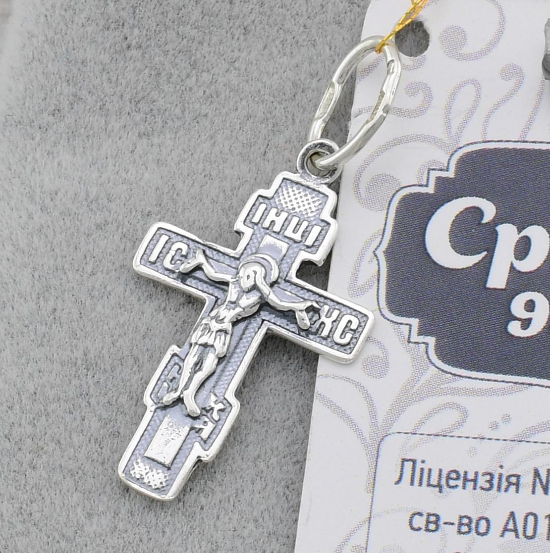 Серебряный крестик с чернением 36240-ч, размер 23*14 мм, вес 0.98 г, произв. Конотоп