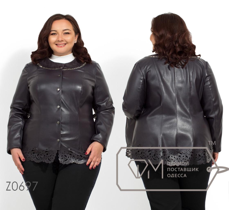 7ba4dcb6 Купить Кожаная куртка больших размеров с замшевой отделкой с 56 по ...