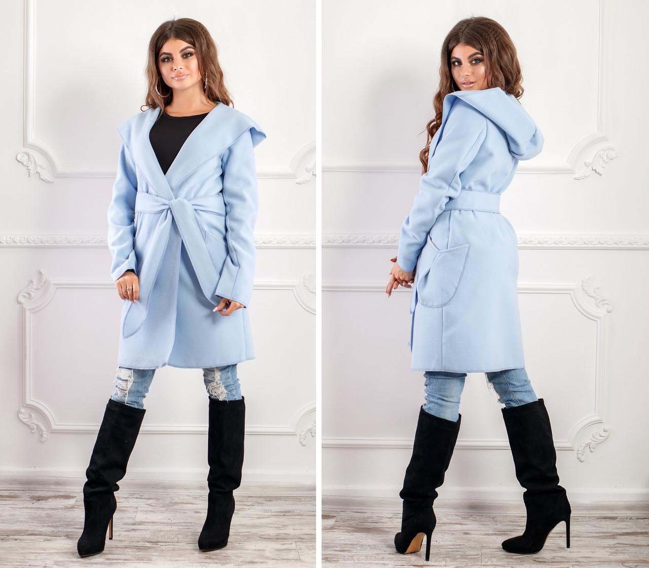 СТИЛЬНОЕ пальто с капюшоном и поясом NOBILITAS голубое итальянский кашемир (арт. 18034)