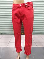 Женские джинсы красные бойфренд