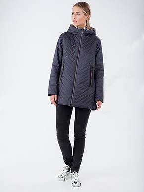 Модная женская демисезонная куртка из новой коллекции CLASNA CW19C306CWL графитовая, фото 2