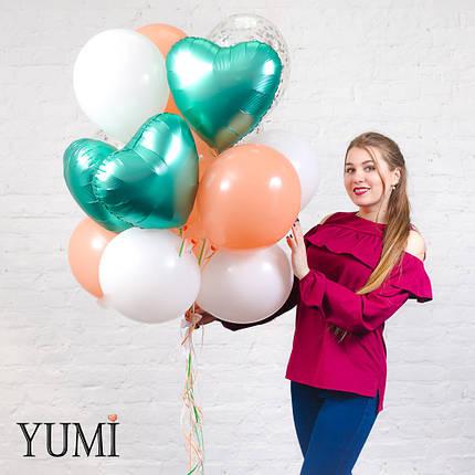 Красивый букет из 15 шаров с гелием для девушки, фото 2