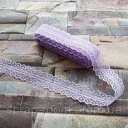 Кружево фиолетовое тонкое, кружево синтетическое, кружево, ширина кружева 28 мм, цена указана за 1 метр