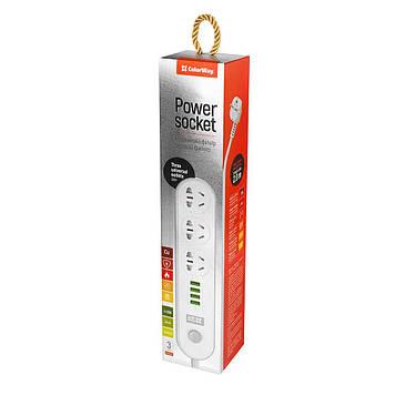 Мережевий фільтр-подовжувач СolorWay 3 розетки/4 USB White (CW-CHU34W)