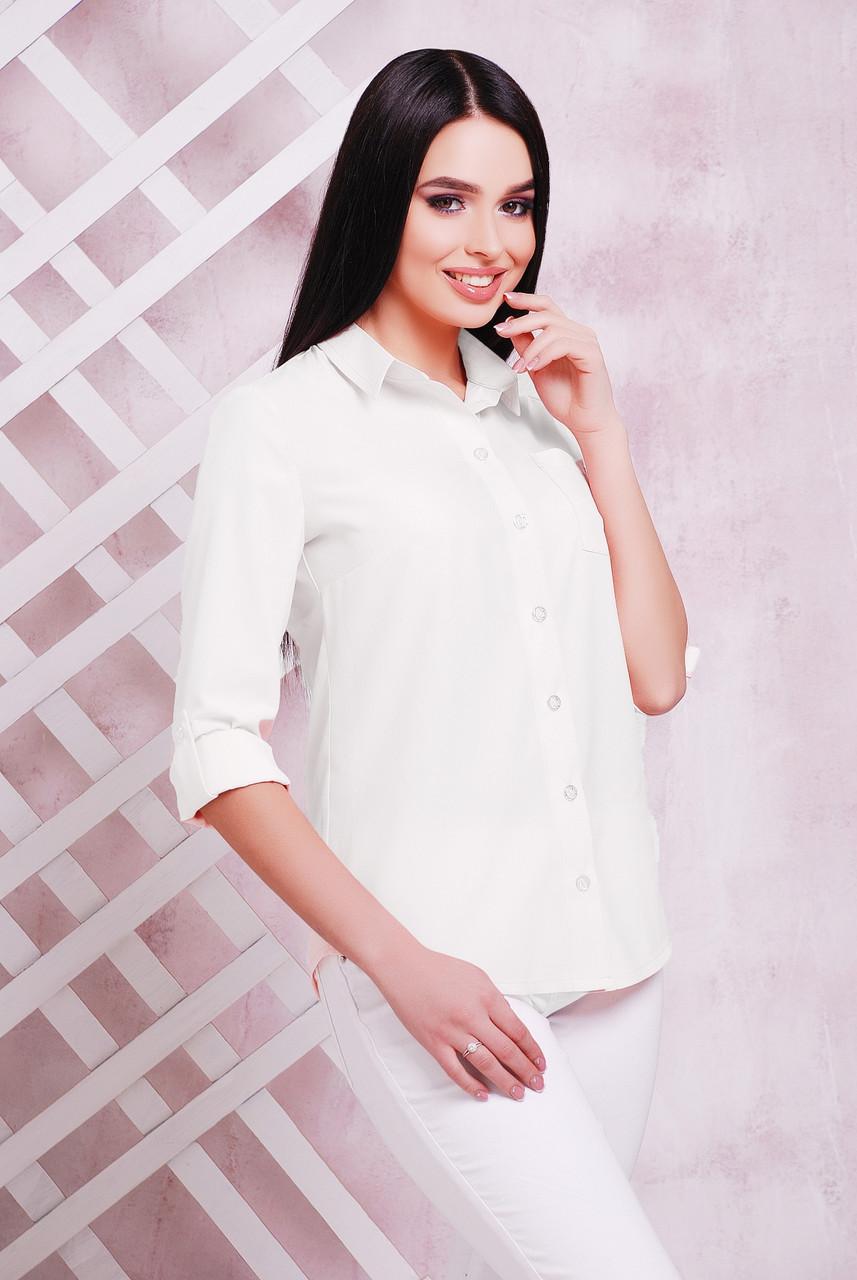 7a8cc5369db Женская классическая белая офисная блузка-рубашка с длинным рукавом с  подворотом