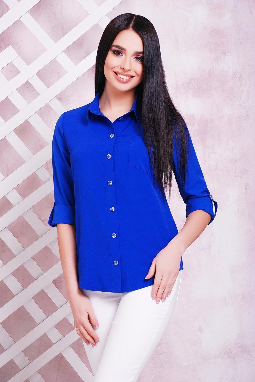 315112049d5 Женская свободная блузка-рубашка классика с длинным рукавом с подворотом  цвет электрик -