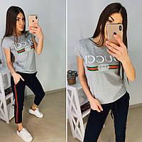 Костюм спортивный женский футболка и штаны с порезами, цвета в ассортименте