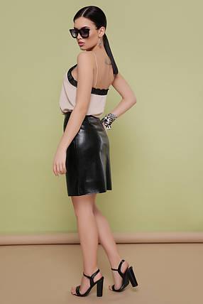 Коротка модна спідниця під шкіру вище коліна на блискавці спереду S M L, фото 2