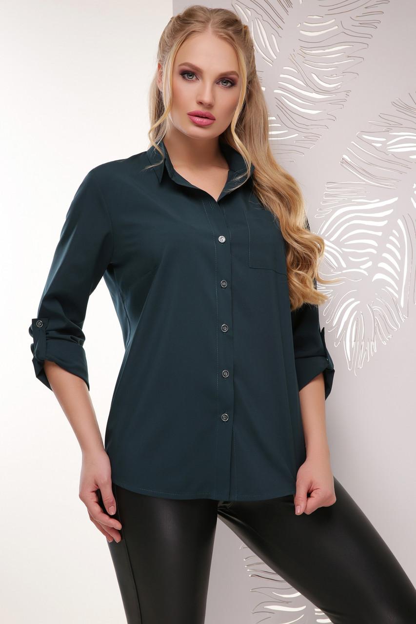 d7c4dd309b6c Деловая женская блузка-рубашка с длинным рукавом классика большие размеры  темно-зеленая