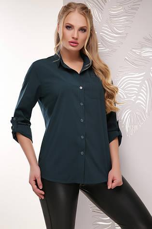 2c007386fd9 Деловая женская блузка-рубашка с длинным рукавом классика большие размеры  темно-зеленая